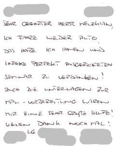 MP - DankePostkarte an mpu-seminar.de nach bestandener MPU