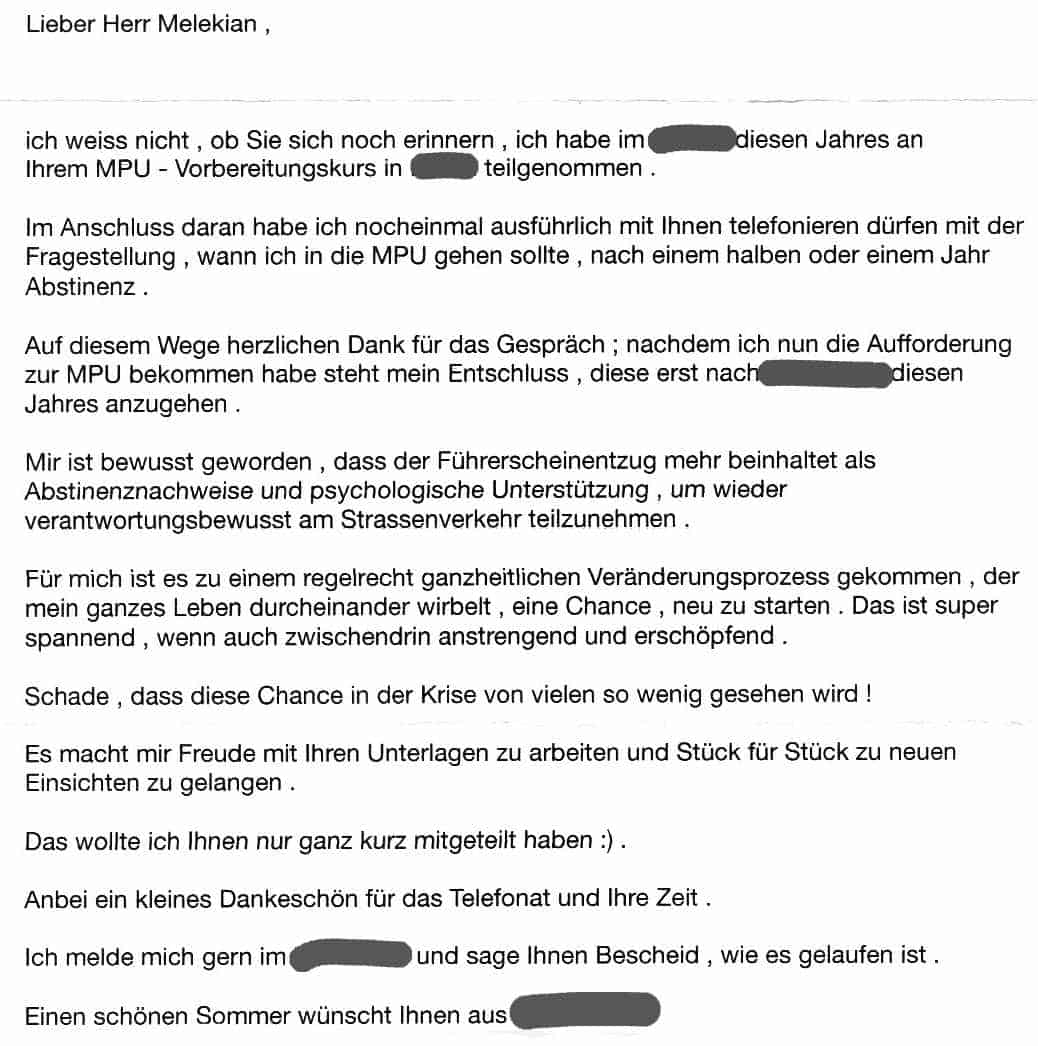 MP - Danke-Brief nach dem MPU-Seminar